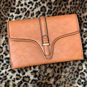 Tan Cognac Faux Leather Envelope Clutch Purse